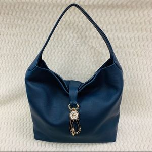 NWOT Dooney and Bourke Navy Leather Logo Lock Hobo